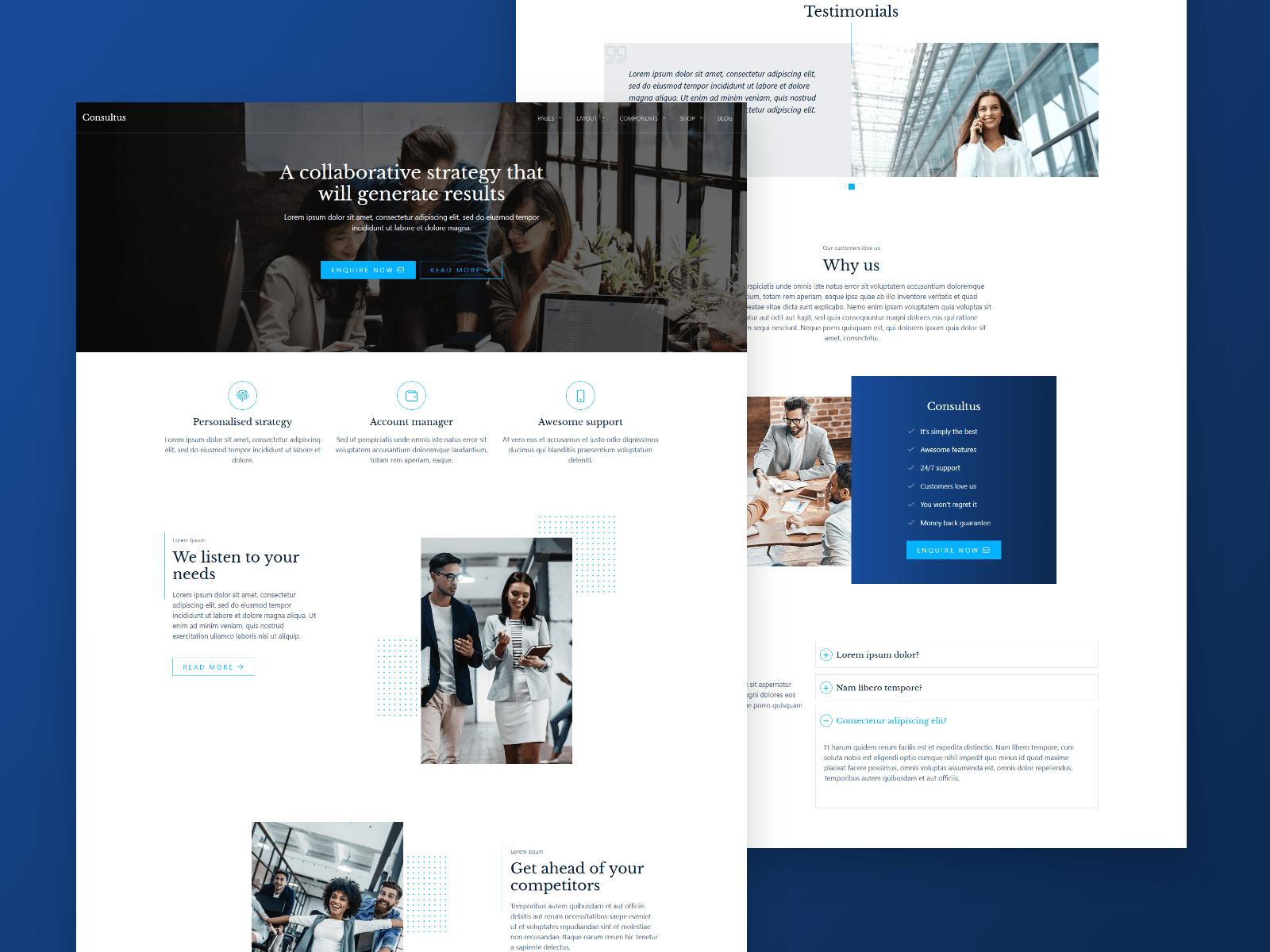 Consultus WordPress theme design