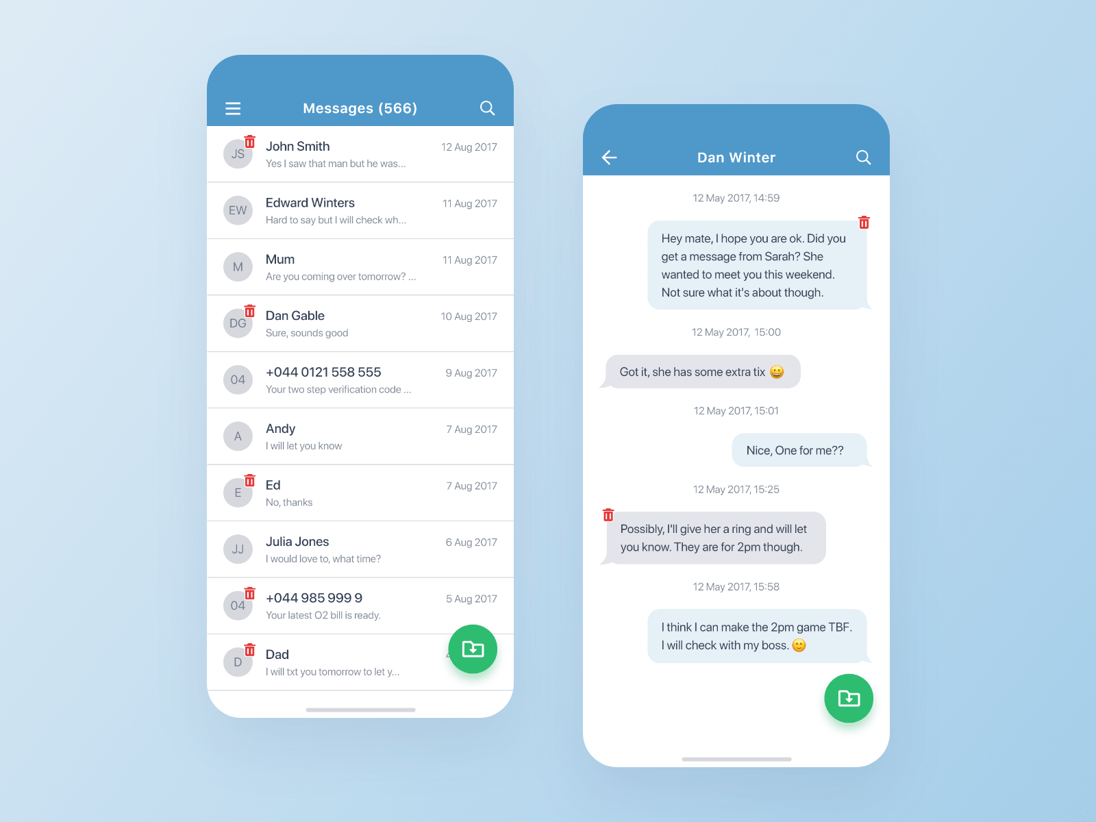 Recovered messages