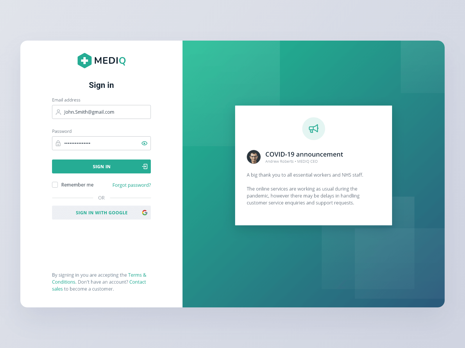 Mediq login page